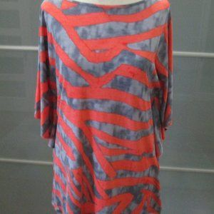 Butterfly Sleeve Abstract Print Tunic